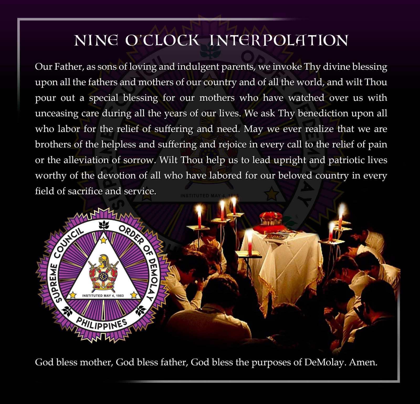 DeMolay Nine O'Clock Interpolation
